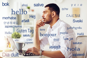 Image of translator pondering the right translation of hello in different languages. He's asking the question: should you use machine translation?
